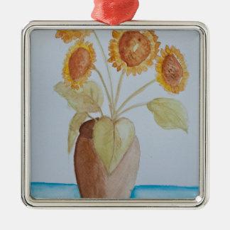 original watercolour of a sunflower christmas ornament