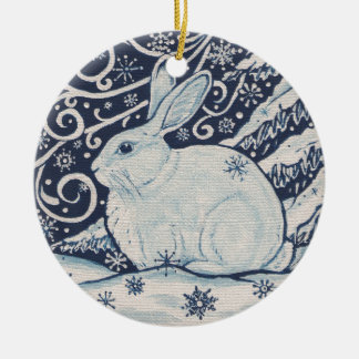Original Winter Christmas Rabbit Blue & White Christmas Ornament