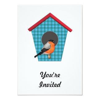 Oriole on Blue Plaid House 5x7 Paper Invitation Card