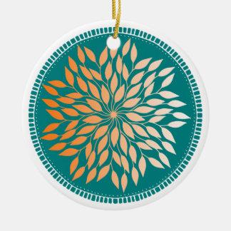 Oriole Orange Gradient Leafy Mandala on Teal Christmas Ornament