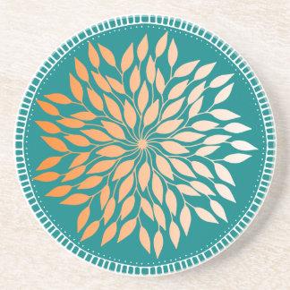 Oriole Orange Gradient Leafy Mandala on Teal Coaster