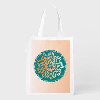 Oriole Orange Gradient Leafy Mandala on Teal Reusable Grocery Bag