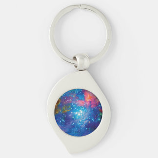 Orion Nebula Infrared Silver-Colored Swirl Key Ring