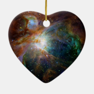 Orion nebula NASA orange starry sky Ceramic Heart Decoration