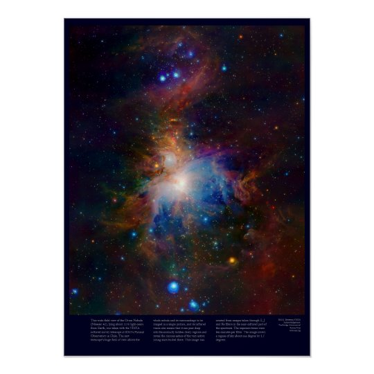 Orion Nebula with glowing stars, gas and galaxies Poster