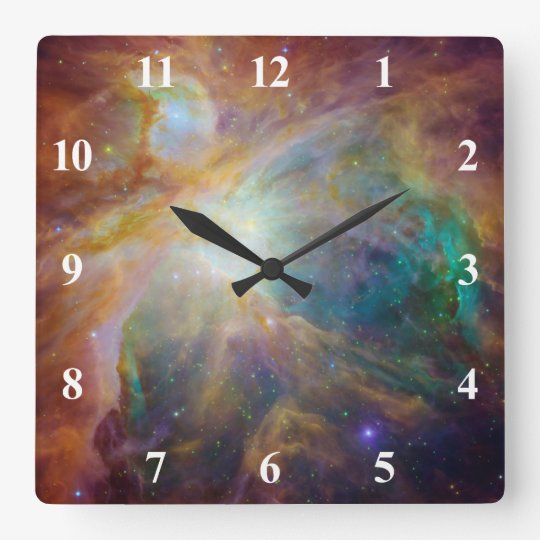 Orion Nebula with White Numbers Wallclocks
