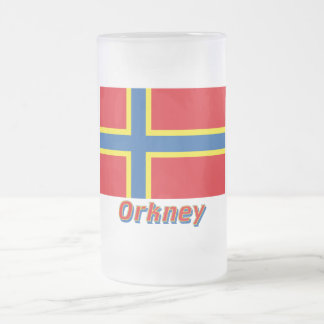 Orkney Flag with Name Frosted Glass Beer Mug