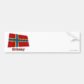 Orkney Waving Flag with Name Bumper Sticker