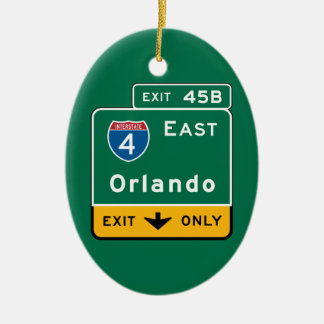 Orlando, FL Road Sign Christmas Ornament