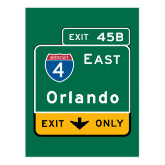 Orlando, FL Road Sign Postcard