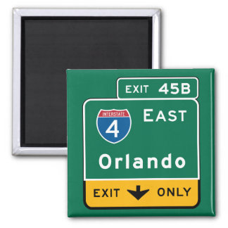 Orlando, FL Road Sign Square Magnet