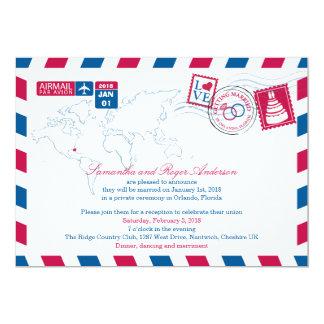 Orlando Florida Airmail Post Wedding Reception 13 Cm X 18 Cm Invitation Card