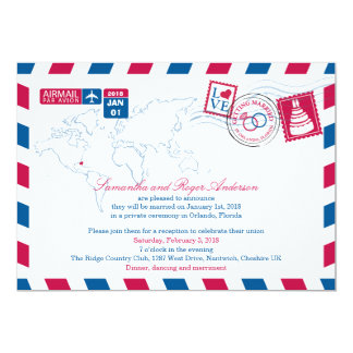 Orlando Florida Airmail Post Wedding Reception Card