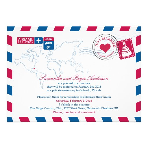 Orlando Florida Airmail Post Wedding Reception Card