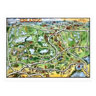 Orlando Florida Cartoon Map Postcard