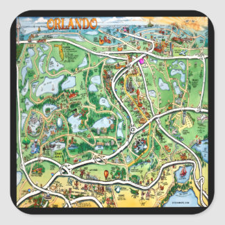 Orlando Florida Cartoon Map Square Sticker