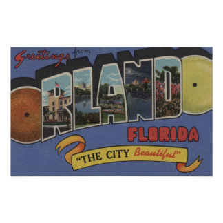 Orlando, Florida - Large Letter Scenes Poster