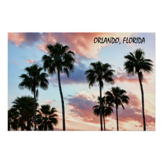 Orlando, Florida Pink Clouds & Palm Trees Poster