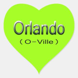 Orlando (O-Ville) grn Heart Sticker