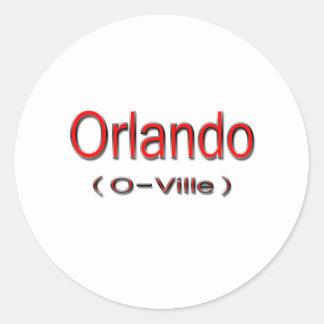 Orlando (O-Ville) red Round Sticker