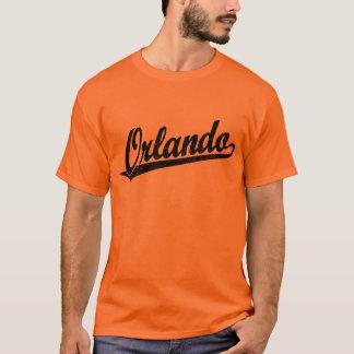 Orlando script logo in black distressed T-Shirt