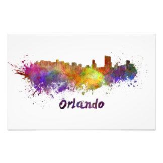 Orlando skyline in watercolor photo print