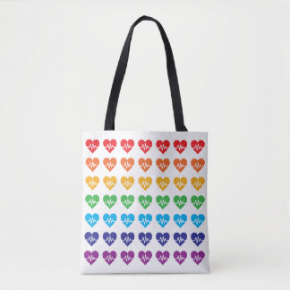 Orlando Strong One Pulse 49 Hearts Rainbow Tote Bag