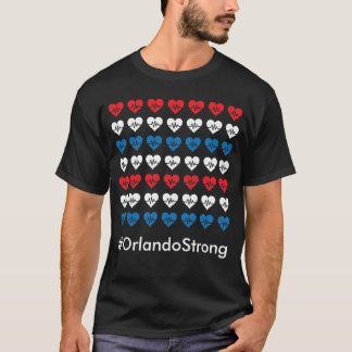 Orlando Strong Pulse 49 Red White and Blue Hearts T-Shirt