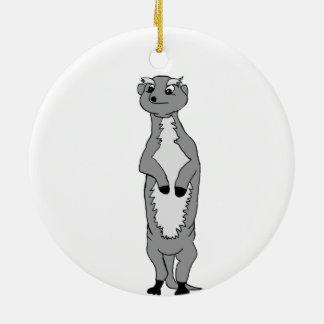 """""""Orlav"""" the meerkat (black and white) Christmas Ornament"""