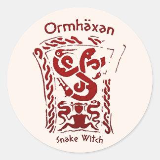 Ormhäxan Snake Witch Rune Round Sticker