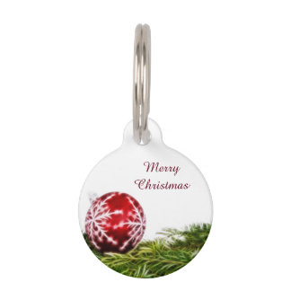 Ornament and Fir Fractal - Merry Christmas Pet Name Tags