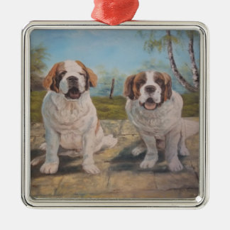 Ornament Ann Hayes Painting Two St Bernards