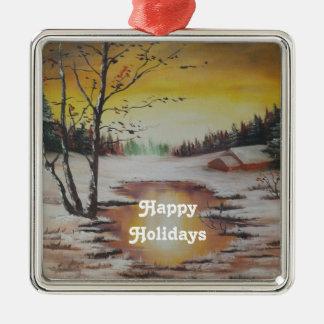 Ornament Ann Hayes Painting Winter Scene