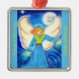 Ornament: Archangel Gabriel Silver-Colored Square Decoration