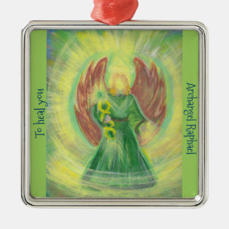 Ornament: Archangel Raphael Silver-Colored Square Decoration