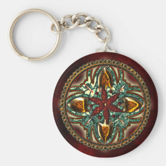 Ornament Basic Round Button Key Ring