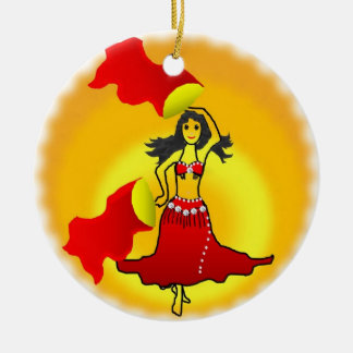 ornament bellydancer red fans isis