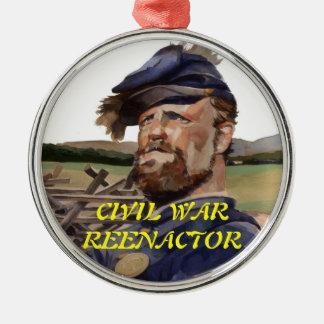Ornament, Civil War Reenactor Silver-Colored Round Decoration