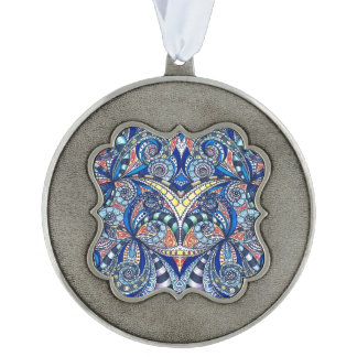 Ornament Drawing Floral Zentangle Scalloped Ornament
