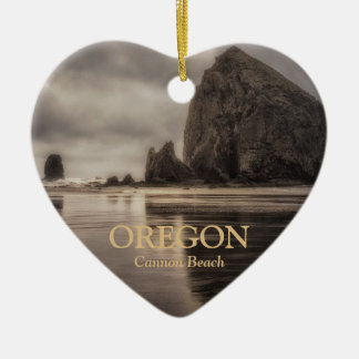 Ornament: Haystack Rock And Needles (Heart) Christmas Ornament