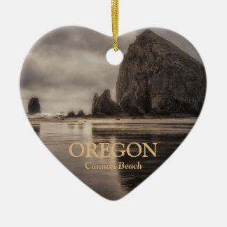 Ornament: Haystack Rock And Needles (Heart) Ceramic Heart Decoration