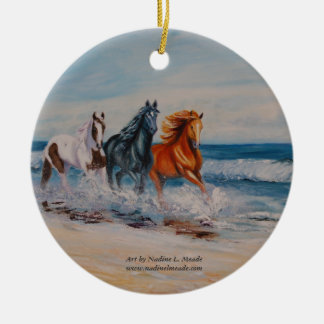 Ornament, Horses in the surf Christmas Ornament