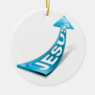 Ornament Jesus blue arrow on white