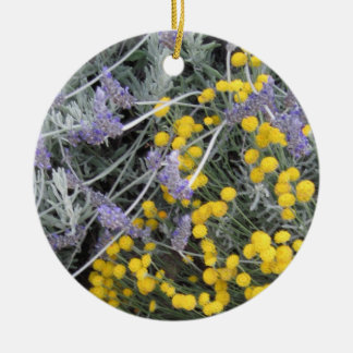 Ornament: Lavender and Santolina Round Ceramic Decoration