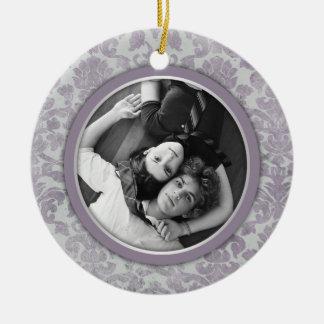 Ornament Lavender Silver Damask Wedding Favor