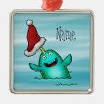 Ornament, Name Template Cute Narwhal Santa