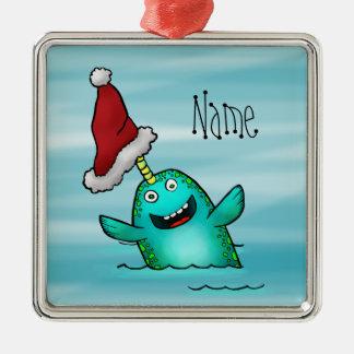 Ornament, Name Template Cute Narwhal Santa Christmas Ornament