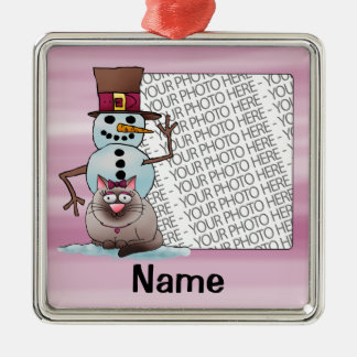 Ornament, Photo & Name Template, Cat Snowman Christmas Ornament