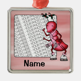 Ornament, Photo & Name Template, Cute Ant Cartoon Silver-Colored Square Decoration