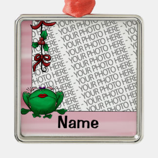 Ornament, Photo & Name Template Cute Frog Mistleto Christmas Ornament